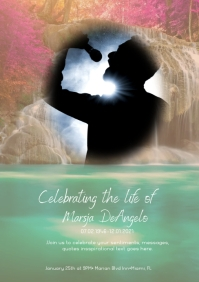 Modern Celebration of Life Invitation Photograp A5 template