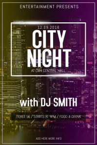 city lights concert event band party flyer template