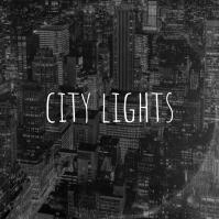 City Lights Skyscrapers Vinyl Album art template