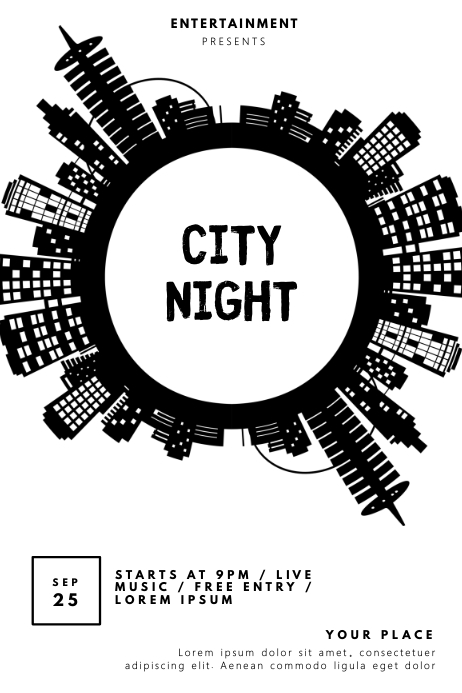 City Music Night Party Flyer Template