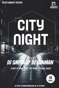 City night event party flyer template