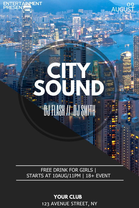 City night flyer template Poster