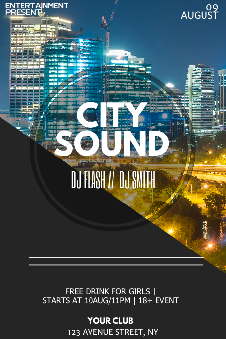 City night flyer template