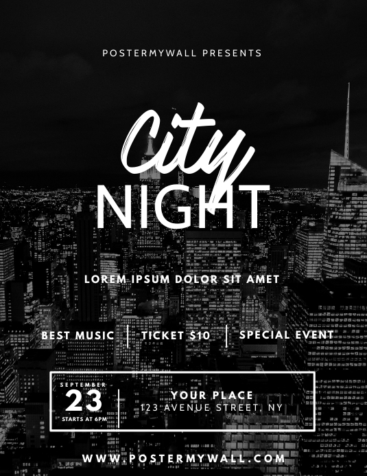 City Night Party Flyer Design Template