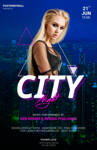 City Night party Flyer Design Template แทบลอยด์