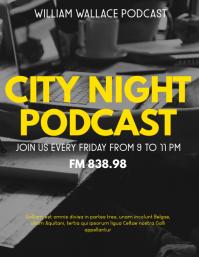 city night podcast flyer design template