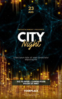 City Night Urban gold Flyer Template Kindle-omslag