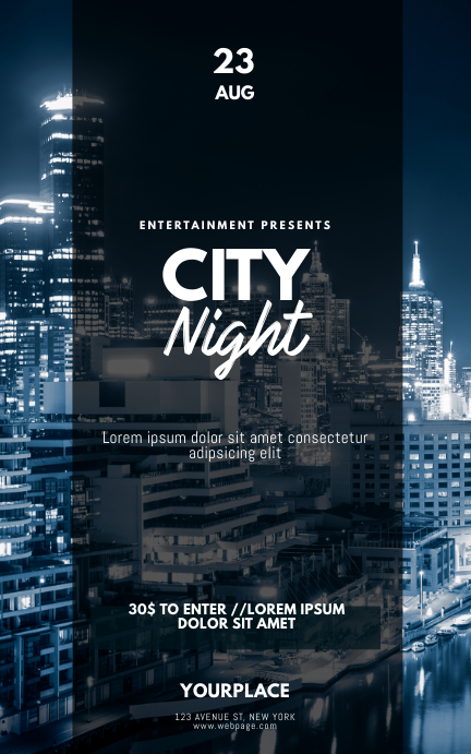 City Night Urban gold Flyer Template