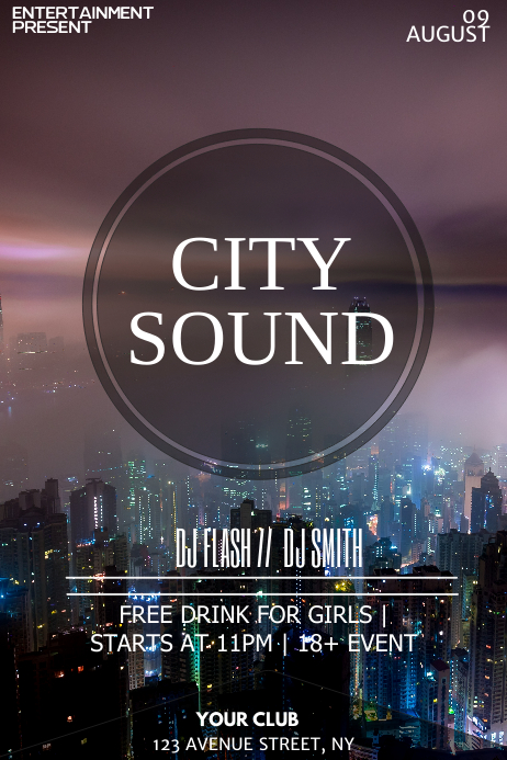 City Party night flyer template Plakat
