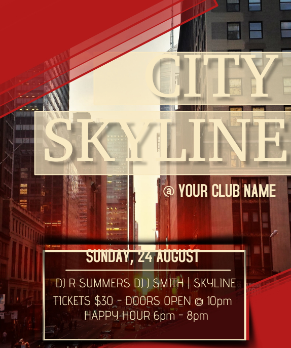 City Skyline Club Large Rectangle template