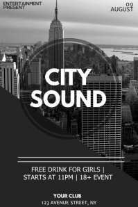 City sound night flyer template
