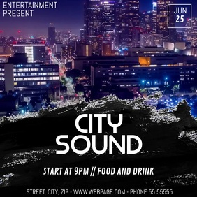 city sound party video flyer template 方形(1:1)