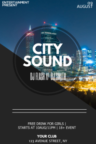 City sound Summer night flyer template