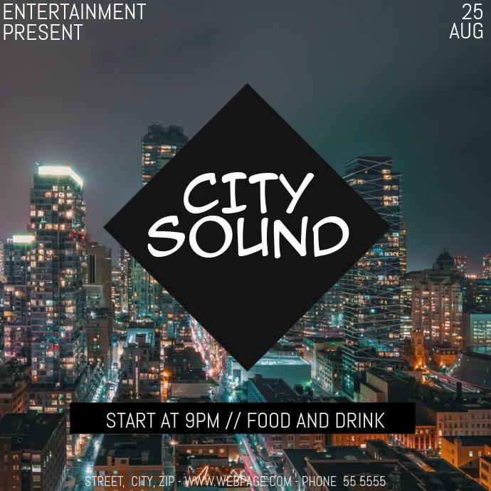 city sound video flyer template