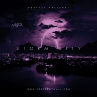 City Storm Clouds Night Dark Mixtape CD Cover 专辑封面 template