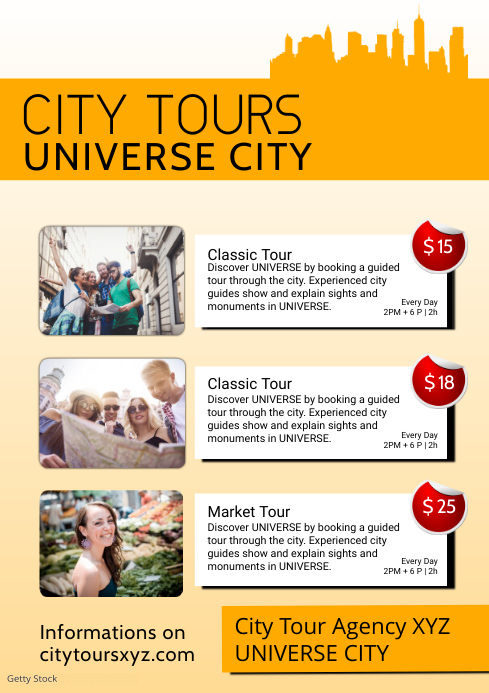 City tours travel guide sightseeing tourist A4 template