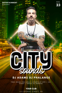 City Urban night club DJ party flyer template