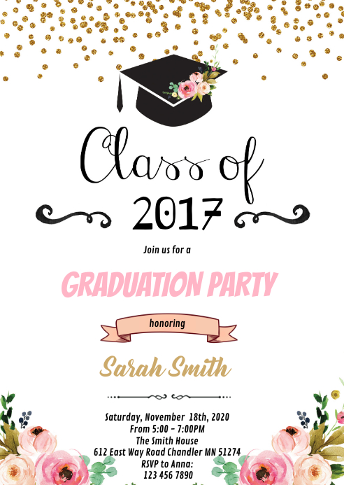 Class of graduation party invitation A6 template