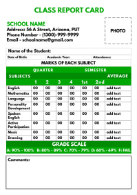 Class Report Card Printable Template A4