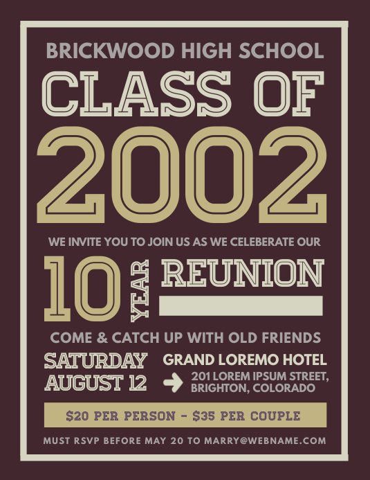 Class Reunion Flyer Pamflet (Letter AS) template