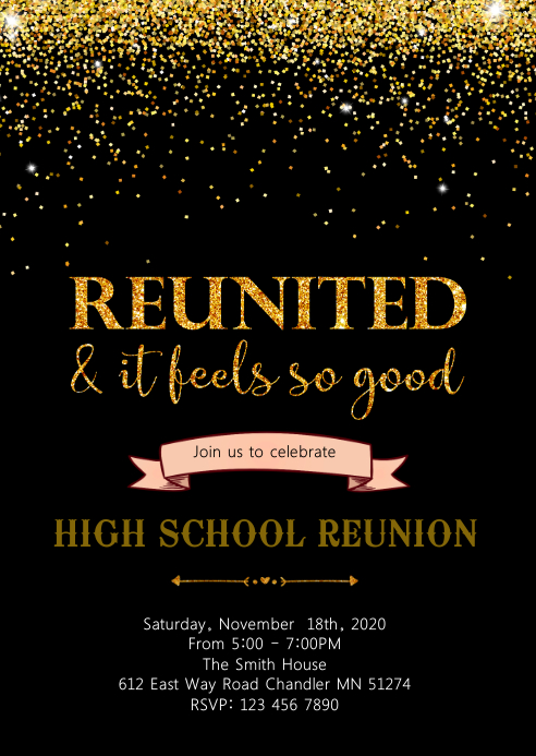 Class reunion party invitation A6 template