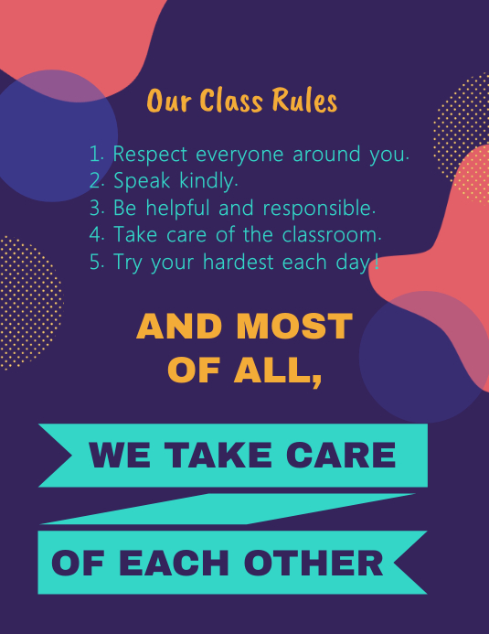 Class Rules and Procedures Square Image Template Folheto (US Letter)