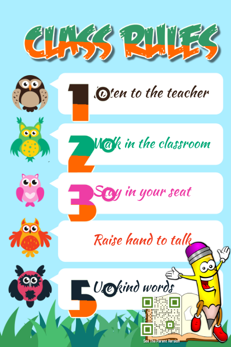 Classroom Design Should Follow Evidence ~ Class rules poster theme animal kids and kindergarten