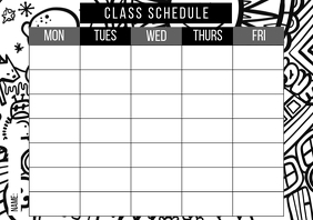 Class schedule coloring book doodles school A4 template