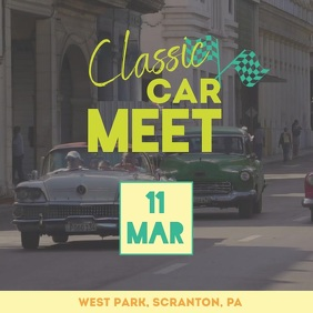 Classic car bike meet Video Ad Square (1:1) template