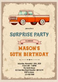 Classic car birthday theme Invitation A6 template