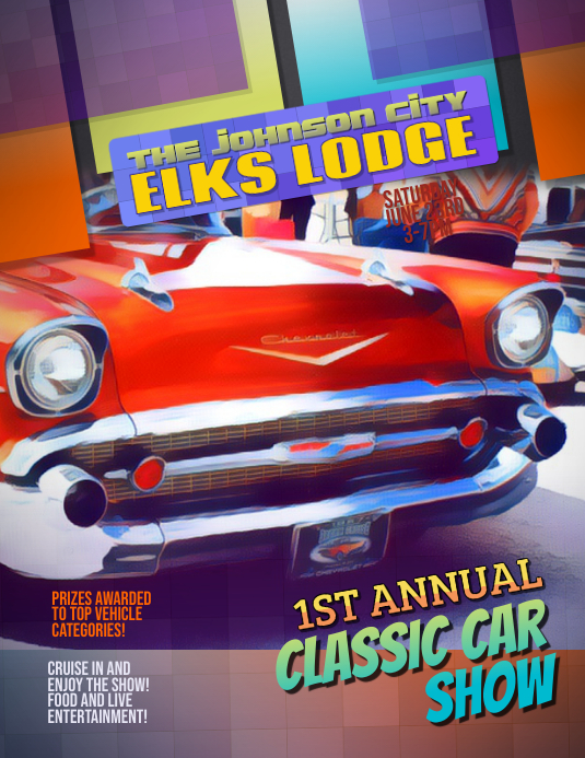 Classic Car Show Cruise In flyer template Løbeseddel (US Letter)