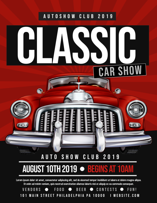Classic Car Show Flyer (US Letter) template