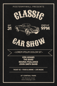 Classic Car Show Flyer Design Template Poster