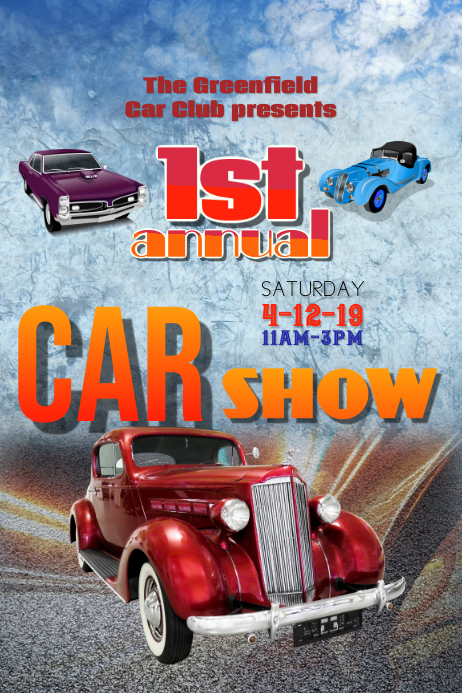 classic car show flyer poster template