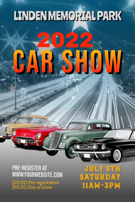 classic car show flyer video flyer template 海报