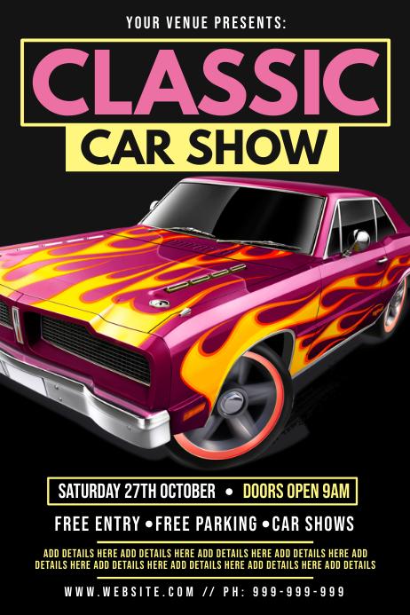 Classic Car Show Poster Plakkaat template