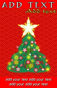 classic christmas tree on red background