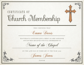 Classic Church Membership Certificate