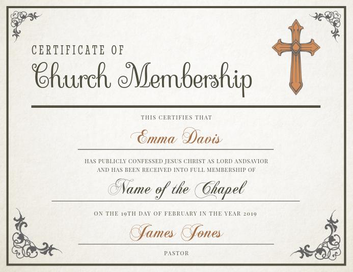 Classic Church Membership Certificate