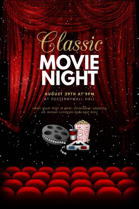 copy of classic movie night cinema flyer template