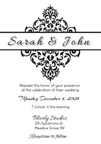 CLASSIC WEDDING INVITE A5 template