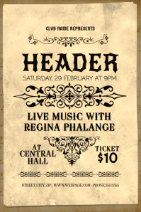 classical music concert old vintage flyer template