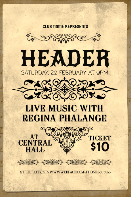 classical music concert old vintage flyer template postermywall