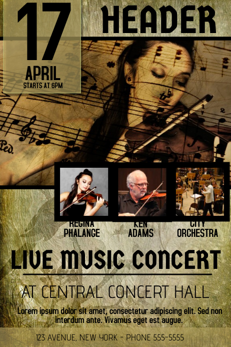 CLASSICAL MUSIC VIOLIN CONCERT OLD VINTAGE FLYER TEMPLATE