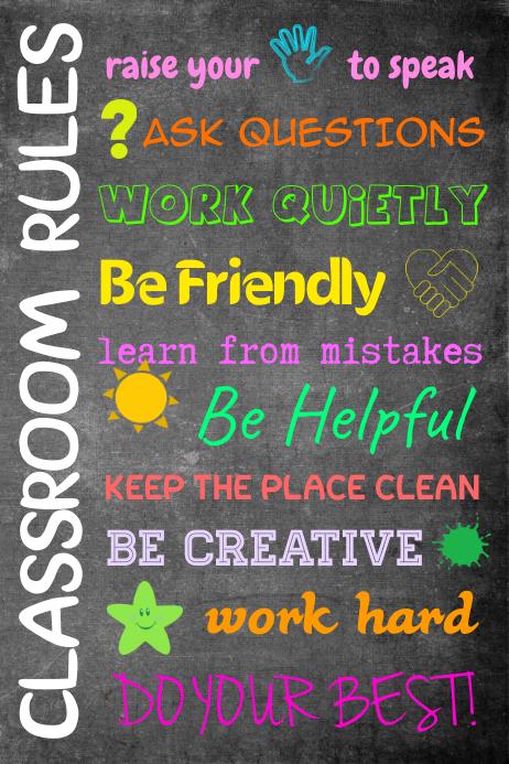 Classroom Chalkboard Printable Poster Template Cartaz