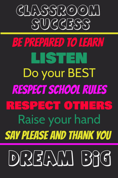 classroom poster template postermywall