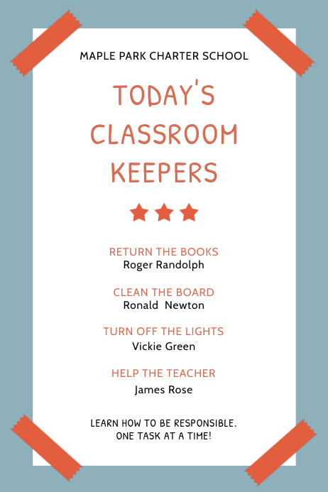Classroom Rules and Regulations Blue Poster Template Cartaz