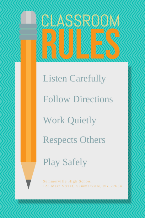 Classroom Rules Poster Плакат template