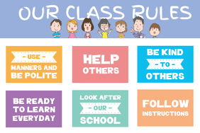 Classroom Rules with Illustrations Printable Poster