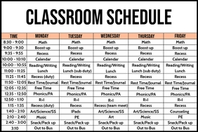 Classroom Schedule Board Template